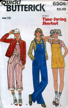 Vintage Sewing Vintage Junior Teen Size Overalls Shortalls and Jacket Butterick 6507 Sewing Pattern FACTORY Folds, by AttysSproutVintage on Etsy - Butterick printed pattern Vogue Sewing Patterns, Sewing Patterns For Kids, Clothing Patterns, Sewing Ideas, Paper Patterns, 60s And 70s Fashion, Vintage Fashion, 1900s Fashion, Overalls Women
