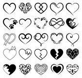 Satz von 25 Tattoo Herzen Bild. Vektor-symbol — Stockvektor
