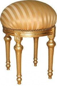 casa padrino barock sitzhocker rundhocker gold creme streifen gold barock hocker mobel barock