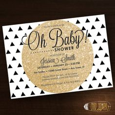 Geometric Oh Baby Shower Invitation Triangle, Gold, Black, Pink, Blue, White on Etsy