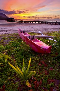As the sunset exploded I ran around by the Hanalei Pier to find something that grabbed my attention. As luck would have it this outrigger ca...