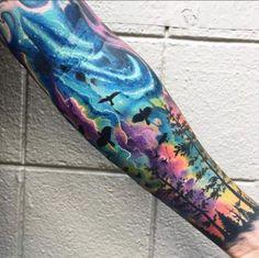 Soo cool Colorful Sleeve Tattoos, Men Sleeve Tattoos, Bright Colorful Tattoos, Forest Tattoo Sleeve, Space Tattoo Sleeve, Galaxy Tattoo Sleeve, Watercolor Galaxy Tattoo, Watercolor Sky, Galaxy Tattoos
