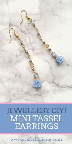 Make these pretty beaded mini tassel earrings in shades of blue and gold - this project takes around 30 minutes! See this earring tutorial at Craftaholique.