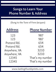 Songs to help children learn a phone number and address