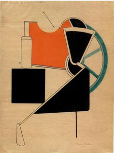 Picabia's 1922 stylized Fuel pump, depicts Dada's unflattering attitude towards machine