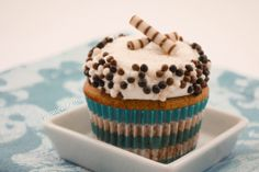 Root Beer Cupcakes topped with Bourbon Vanilla Cream Buttercream