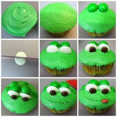 You don't have to be a kid to love these cute little frog cupcakes! Monkey and I just seem to love making animal cupcakes and these frog cupcakes are definitely one of my favourite. We started of by b(Cute Baking Treats) Frog Cupcakes, Kid Cupcakes, Animal Cupcakes, Cupcake Cookies, No Bake Treats, Yummy Treats, Sweet Treats, Character Cupcakes, Cupcake Day