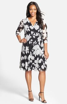London Times Print V-Neck Fit & Flare Dress (Plus Size) available at #Nordstrom