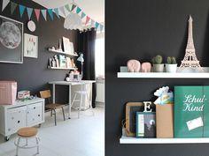 Schwarz als Wandfarbe im Kinderzimmer. So kann es aussehen.... #Kolorat #Wandfarbe #schwarz #Kinderzimmer