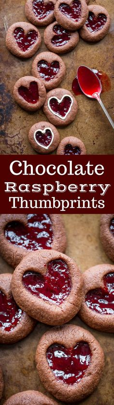Chocolate Raspberry Thumbprint Cookies - this little cookie boasts plenty of chocolate flavor & a heart shaped thumbprint filled with raspberry jam. Chocolate Torte, Low Carb Chocolate, Flourless Chocolate, Chocolate Flavors, Chocolate Peanut Butter, White Chocolate, Raspberry Thumbprint Cookies, Raspberry Cookies, Raspberry Recipes