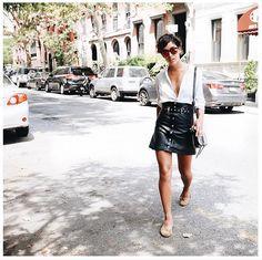 Strike a Balance Between an Edgy Skirt and a Lightweight Blouse