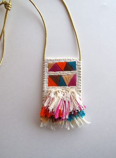 Textile pendant necklace in violet orange blue by AnAstridEndeavor