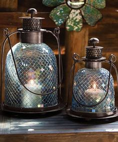 Teal Mosaic Glass Lantern Set for the Garden