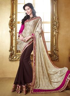 Buy designer saree online. Shop latest indian saree online at best price. Order this intriguing embroidered and patch border work brown designer saree.