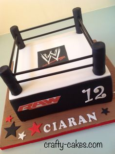WWE Wrestling Ring cake by Crafty-cakes.com