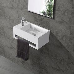 bol.com | Fontein Toilet - Toiletmeubel Wc Solid Surface - Mat Wit Links 36x16 cm Small Toilet Design, Small Toilet Room, Guest Toilet, Downstairs Toilet, Solid Surface, Toilet Shelves, Modern Toilet, Bathroom Toilets, Powder Room