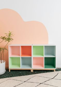 one color-block bookcase styled two ways. - Oh Joy! Kids Bedroom, Bedroom Decor, Painted Bookshelves, Bookcase Styling, My Room, Colorful Interiors, Wall Murals, House Design, Interior Design