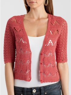 Crinochet: Inspirational Tanks and Tops crochet dresses and tops, inspiration only i found wonderful crochet blouse. Gilet Crochet, Crochet Coat, Crochet Jacket, Crochet Cardigan, Diy Crochet, Crochet Clothes, Crochet Dresses, Irish Crochet, Crochet Pattern