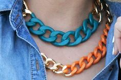 Jewelry: colorful iron chain necklaces.