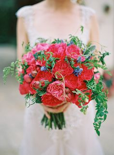 Red, fuchsia and green bouquet