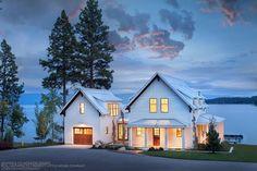 Perfect Little House Company + BC&J Architecture. Love it. Modern Farmhouse feel. Garage. White.