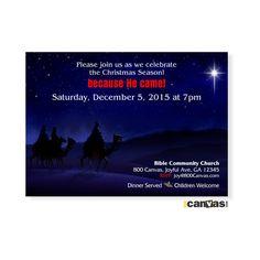 Religious Christmas Invitation. Church Christmas Invites. Christmas Party. Christmas Open House. Wise Men. Star. Classic Christmas Invite 17 by 800Canvas on Etsy