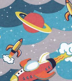 Snuggle Flannel Fabric-Retro Spaceships