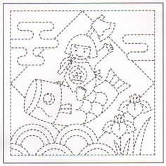 "Sampler # 1026 in white. This fun samplers features a small boy riding a koi banner or kite (?) over clamshells and iris.   Sashiko pre-printed samplers have wash-out stitching lines.  Do not pre-wash. 100% cotton - Finished size approximately 13"" x 13"".  Order 3 samplers and receive a FREE skein of sashiko thread. The design is printed on one half of the sampler.  The other half of the sampler has no design.  Use the plain half as the backing for a pillow or other project, draw your own…"