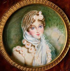 Antique MINIATURE PORTRAIT Of Empress Marie-Louise d'Autriche #Miniature