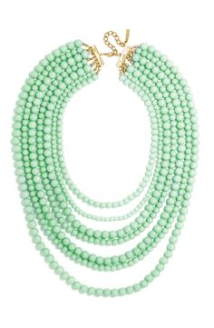Seven glossy rows of mint-colored beads lend lush, extravagant style to a stunning statement necklace from BaubleBar.