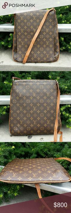 Louis vuitton Musette Salsa cross body Designed with lv traditional. Monogram  gold tone hardwere  interior is suede alcantara.  With zip up pocket on the wall front has magnetic flap closure lining in good condition one small stain on flap inside  strap adjustable. & dust bag about 14 inch tall  111/2 at widest point 23 inch cross body strap please refer to lv site for exact mesurment last pict shows very good condition of strap no cracking of leather  and few small spots that are imperfect…