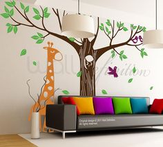 Children Wall Decals Tree Wall Decals Wall Stickers - Giant Tree with Owl Giraffe and Birds