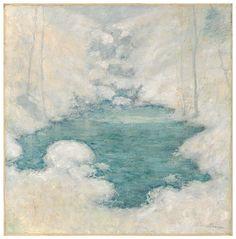 """""""Winter Silence,"""" John Twachtman, 1890-1900, oil on canvas, 22 7/8 x 22 9/16"""", Mead Art Museum."""