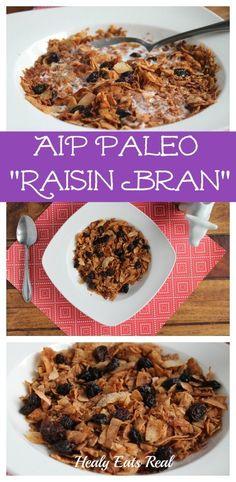 EASY AIP Paleo Raisin Bran Recipe (Only 3 Ingredients!) @ Healy Eats Real #AIP #autoimmune #paleo #nutfree #grainfree #glutenfree #breakfast
