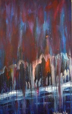 "Pablo Milan at Mirada Fine Art, Stormy Night, Original Acrylic on Canvas, 48"" x 30"""