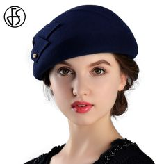 4dbb25003c3 US $25.19 37% OFF|Aliexpress.com : Buy FS Winter 100% Wool Felt French  Berets For Women Fashion Artist Boina Bow Hat Vintage Blue Fedora Gorras  Planas Flat ...