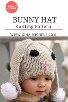 FREE knitting pattern for a Bunny Baby Hat!
