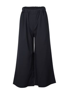 Women Casual Elastic Waist Black Loose Wide Leg Pant