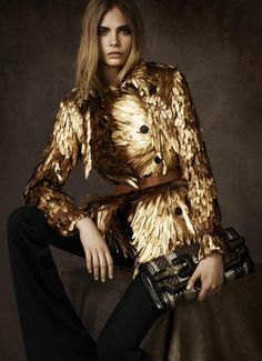 Alexander McQueen golden coat!