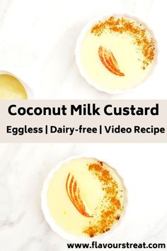 Coconut milk custard - vegan and creamy dessert that takes just 10 minutes to make. A delectable vegan custard sauce is sure to appeal coconut lovers. Coconut Milk Pudding, Coconut Milk Recipes, Coconut Custard, Vegan Dessert Recipes, Köstliche Desserts, Vegan Sweets, Dairy Free Recipes, Delicious Desserts, Vegan Pudding