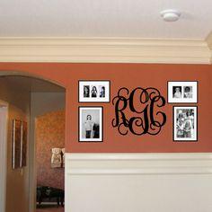 18x21 MONOGRAM Wall Decal (3 Initial Design) vinyl monogram letters (W00931) on Etsy, $20.99