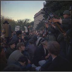 Military Police Keep Back Protesters at the Pentagon