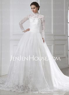 Wedding Dresses - $212.99 - Ball-Gown High Neck Chapel Train Satin Tulle Wedding Dresses With Ruffle Lace Beadwork (002015462) http://jenjenhouse.com/Ball-Gown-High-Neck-Chapel-Train-Satin-Tulle-Wedding-Dresses-With-Ruffle-Lace-Beadwork-002015462-g15462