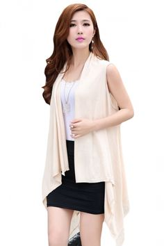 Beige White Fringe Hollow Out Sleeveless Charming Ladies Plain Cardigan Sweater - PINK QUEEN