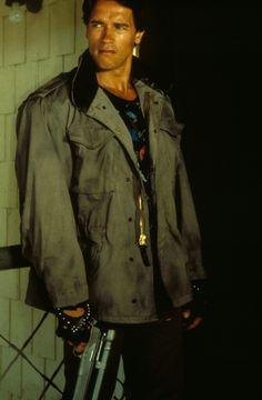 Arnold en The Terminator. Fotografía durante el rodaje.