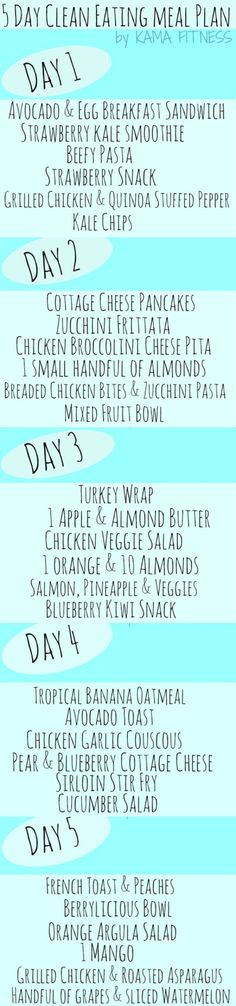 """It's title is """"5 Day Clean Eating Meal Plan,"""" but many don't meet my idea of """"clean""""...pinning for a few ideas only."""