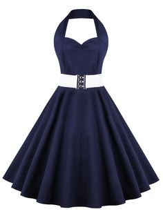 Retro Halter Pure Color  Sweetheart Neck Ball Dress