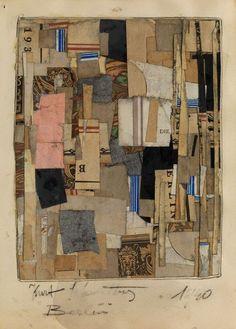 blastedheath:  Kurt Schwitters (German, 1887-1948), Berlin, 1940. Paper collage on board, collage: 23 x 18cm.; board: 30 x 20cm.
