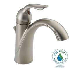 Delta Nyla Stainless Handle Single Hole WaterSense Labeled - Metal bathroom faucets