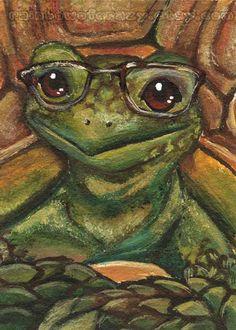 Turtle Art Print Tortoise Glasses Animal by rainbowofcrazy on Etsy